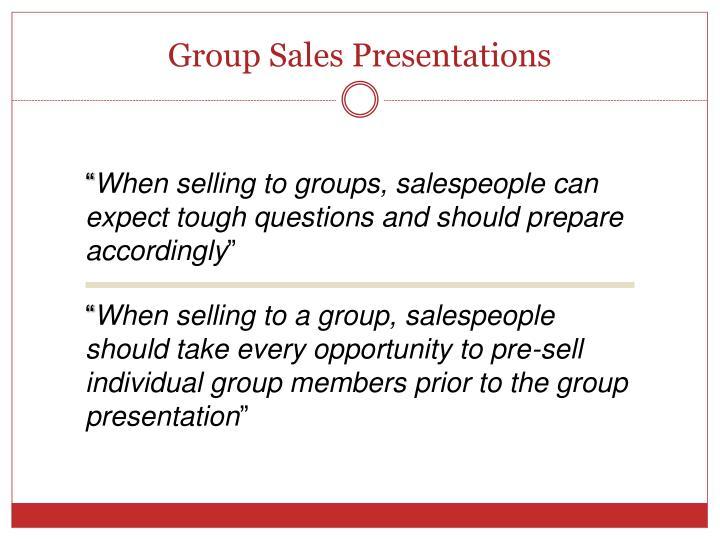 Group Sales Presentations