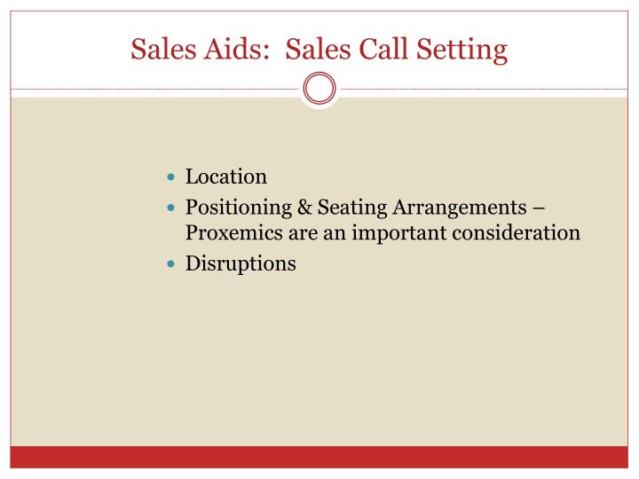 Sales Aids:  Sales Call Setting