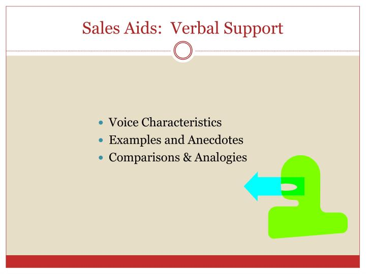 Sales Aids:  Verbal Support