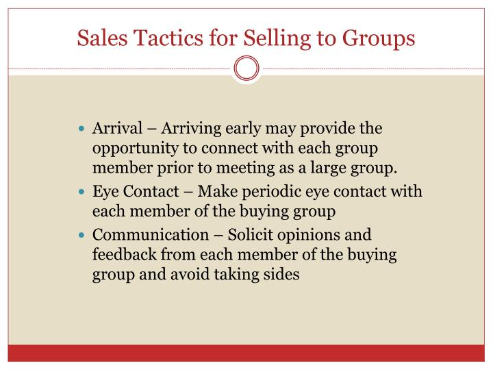 Sales Tactics for Selling to Groups