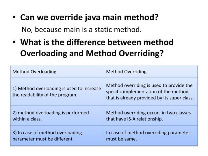 Can we override java main method?