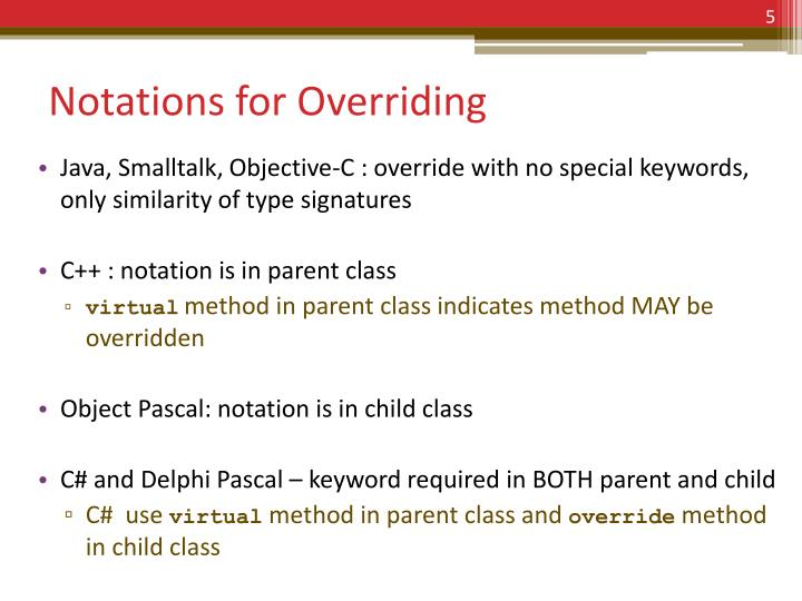 Notations for Overriding
