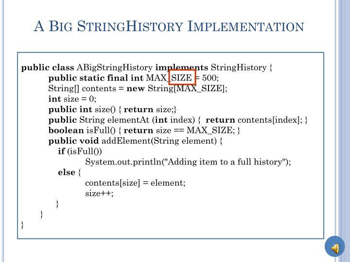 A big stringhistory implementation