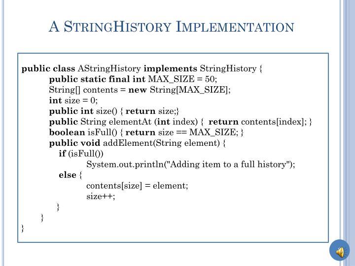 A stringhistory implementation