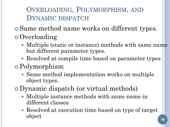 Overloading, Polymorphism, and Dynamic dispatch
