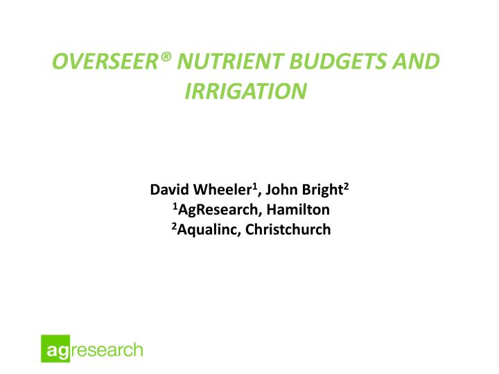 overseer nutrient budgets and irrigation n.