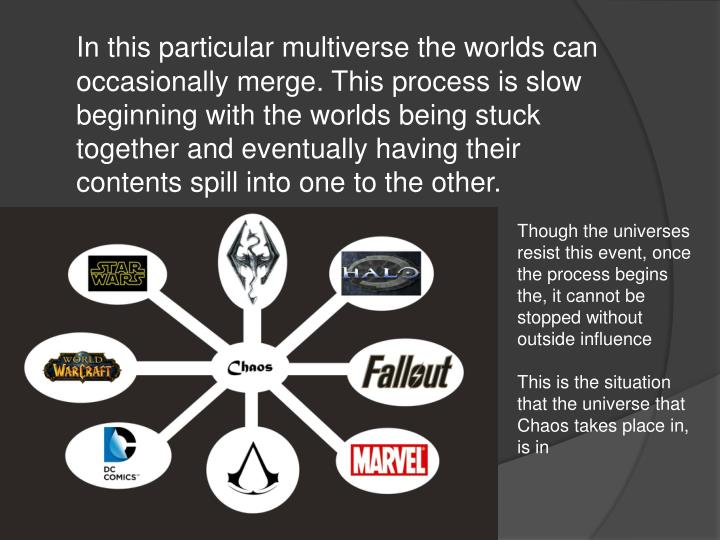 In this particular multiverse the worlds can occasionally merge. This process is slow beginning with...