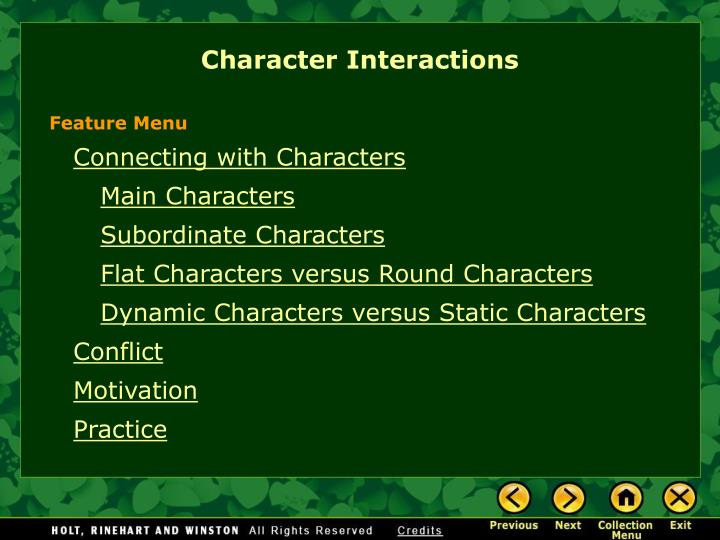character interactions n.