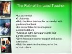 the role of the lead teacher