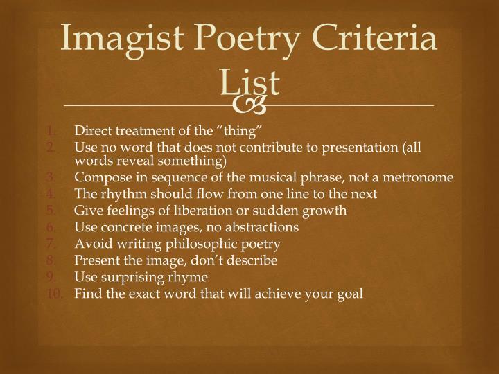 Imagist Poetry Criteria List