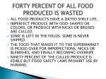 forty percent of all food produced is wasted