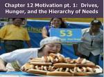 chapter 12 motivation pt 1 drives hunger and the hierarchy of needs