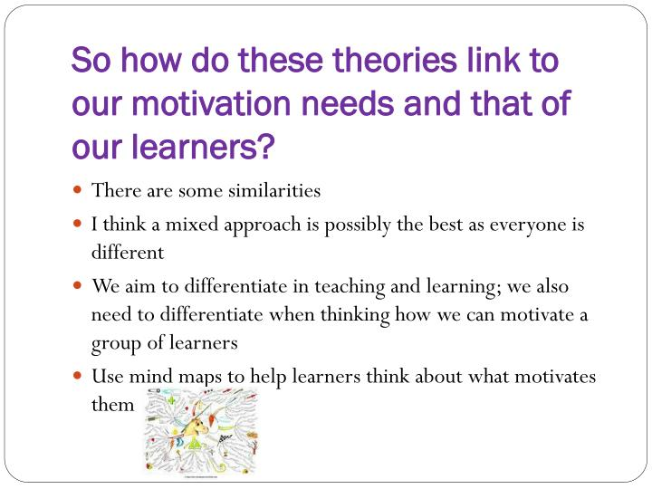 So how do these theories link to our motivation needs and that of our learners?