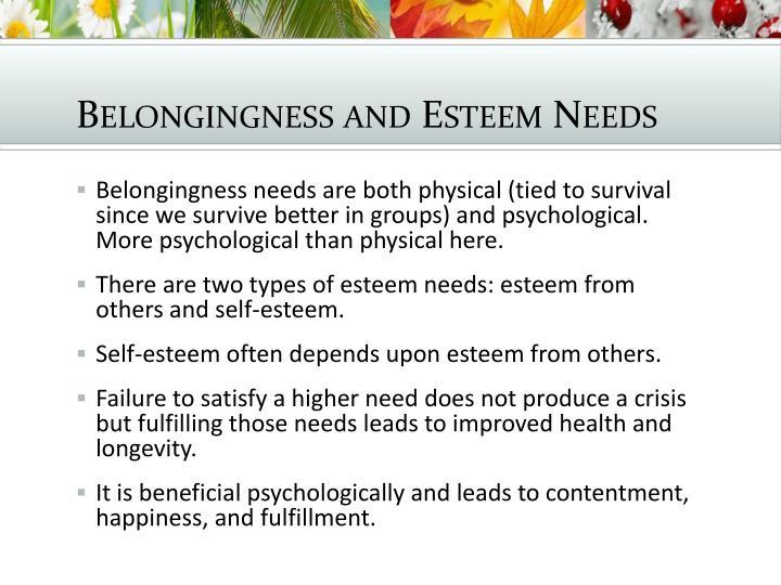 Belongingness and Esteem Needs