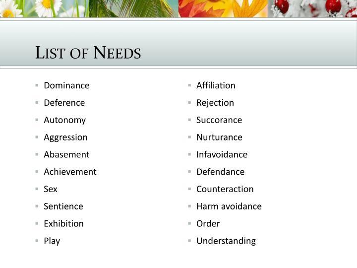 List of Needs