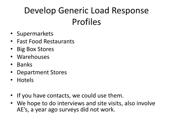 Develop generic load response profiles