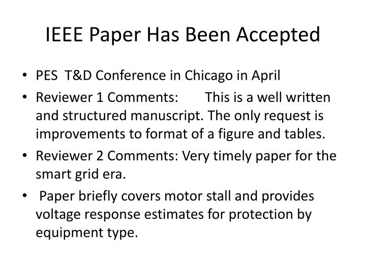 Ieee paper has been accepted