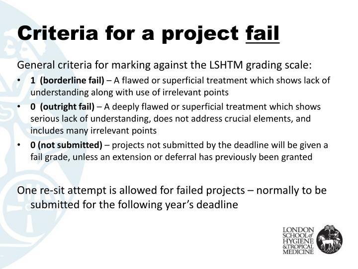 Criteria for a project