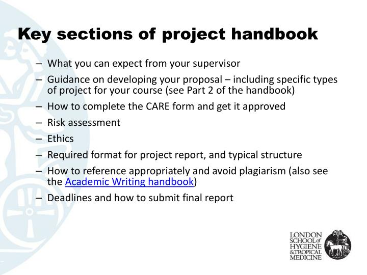 Key sections of project handbook