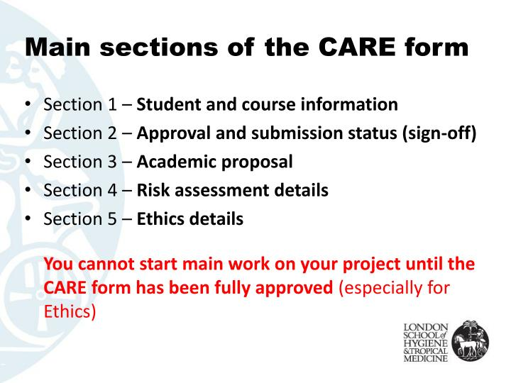 Main sections of the CARE form