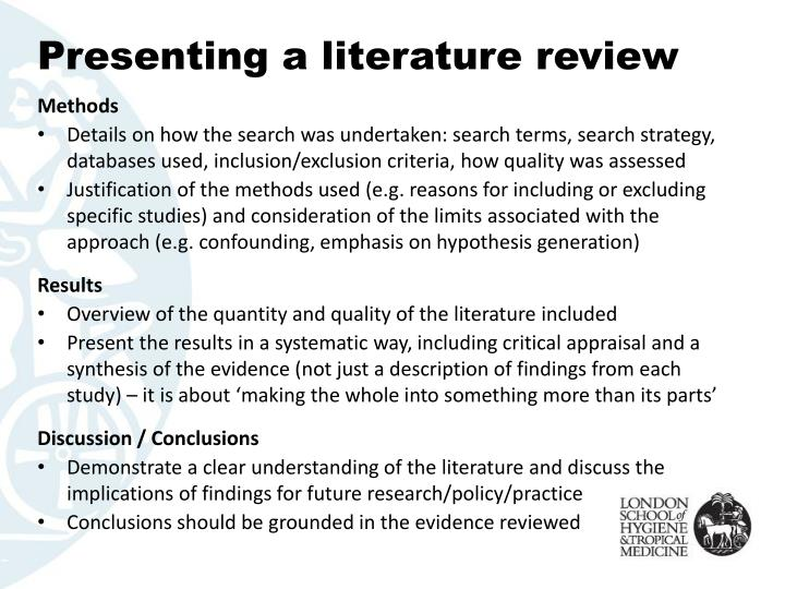 Presenting a literature review