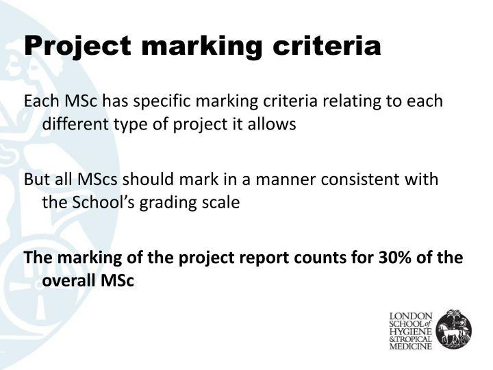Project marking criteria
