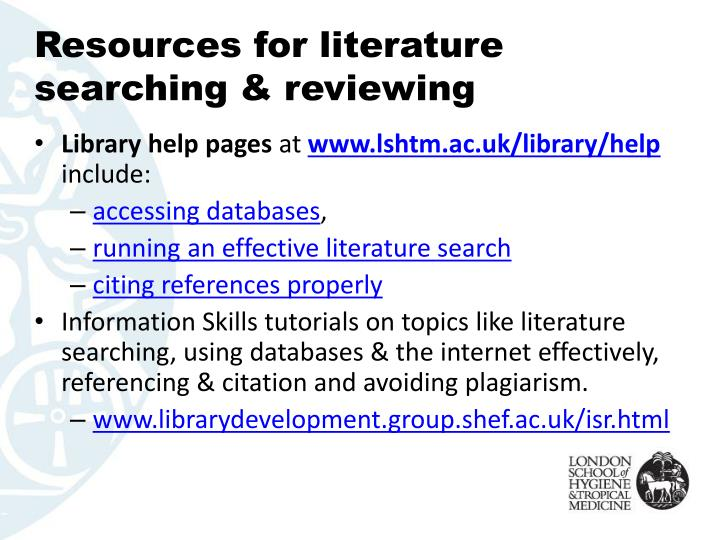 Resources for literature searching & reviewing