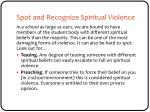 spot and recognize spiritual violence