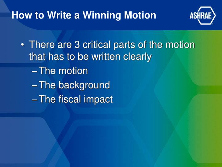 How to write a winning motion