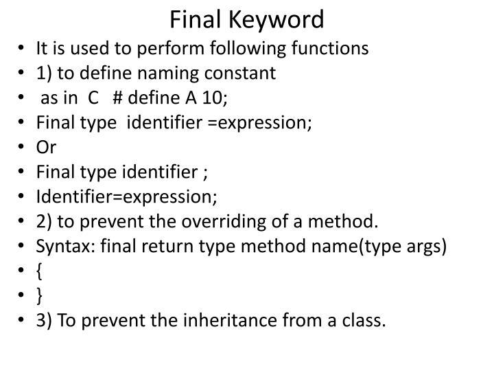 Final Keyword