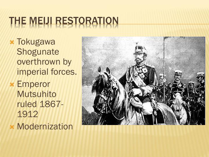 Tokugawa Shogunate overthrown by imperial forces.