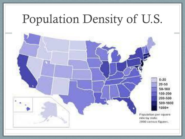 Population density of u s