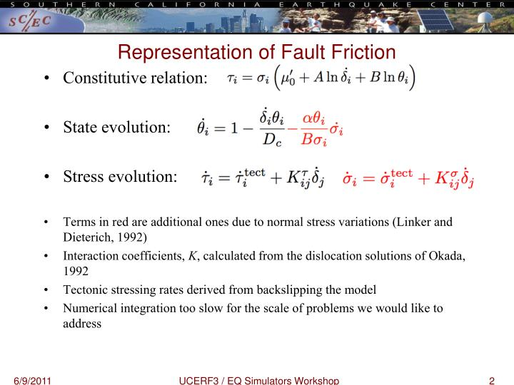 Representation of fault friction