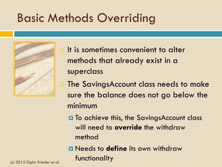 Basic Methods Overriding