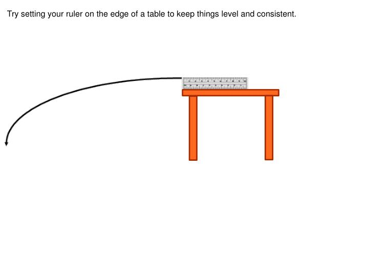 Try setting your ruler on the edge of a table to keep things level and consistent.