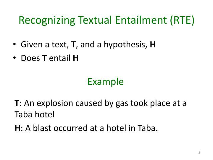 Recognizing textual entailment rte
