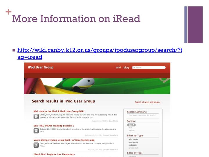 More Information on iRead
