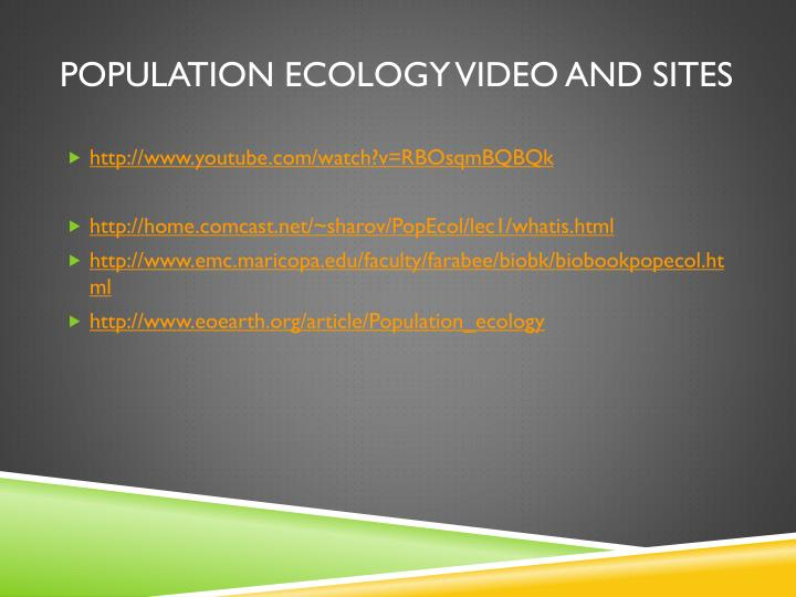 Population ecology video and sites