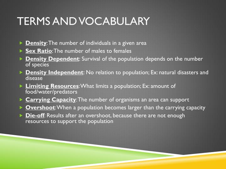 Terms and vocabulary