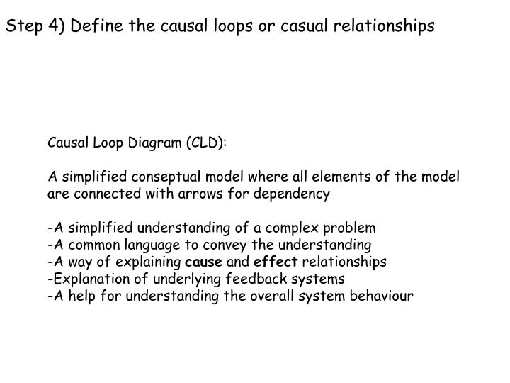 Step 4) Define the causal loops or casual relationships