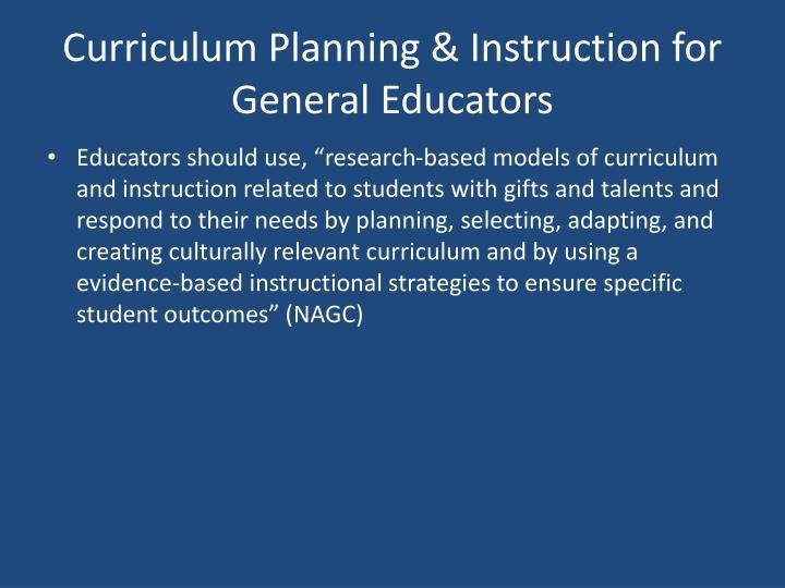 Curriculum Planning & Instruction for General Educators