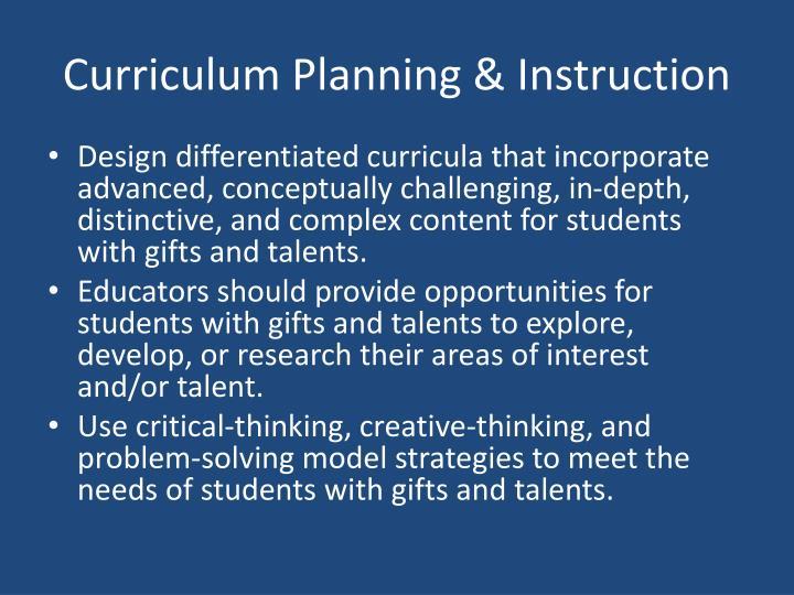 Curriculum Planning & Instruction