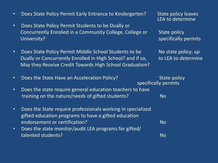 DoesStatePolicy Permit Early Entrance to Kindergarten