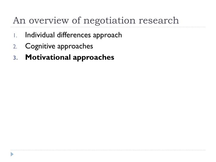 An overview of negotiation research