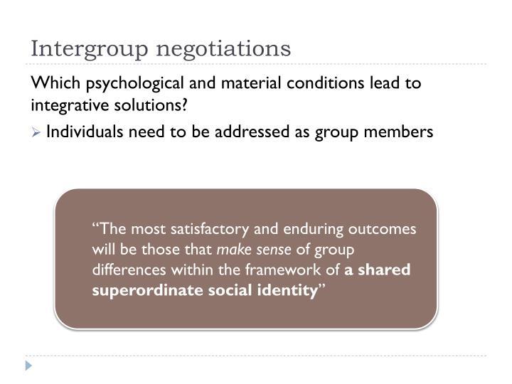 Intergroup negotiations