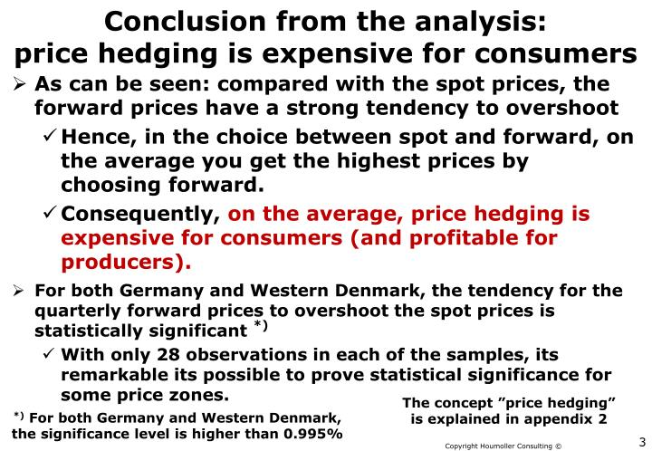 Conclusion from the analysis price hedging is expensive for consumers