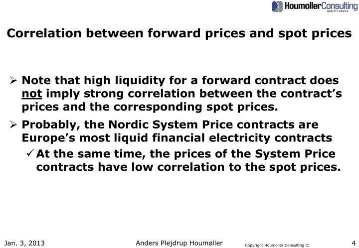 Correlation between forward prices and spot prices