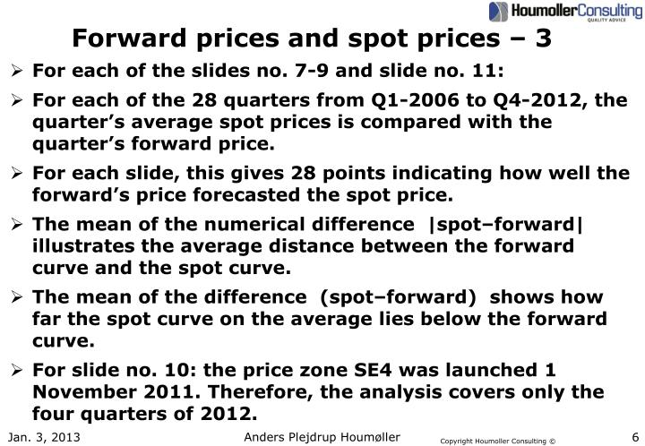 Forward prices and spot prices – 3