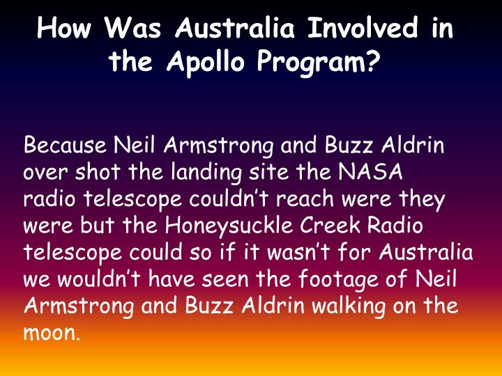 How Was Australia Involved in the Apollo Program?