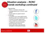 situation analysis rcrc brands workshop continued
